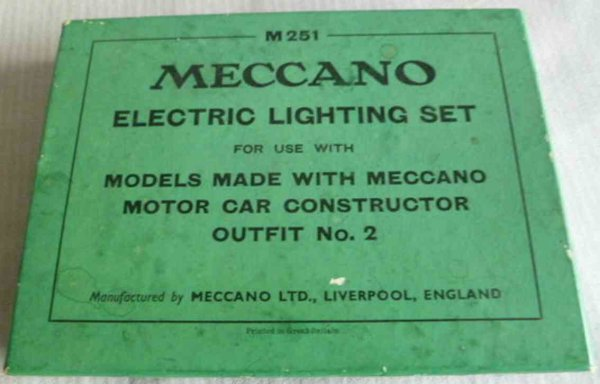 Meccano (Erector) Component Systems Electric lighting set outfit no.2 for cars