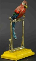 Unknown Tin-Penny Toy Parrot on perch. A very unusual two...