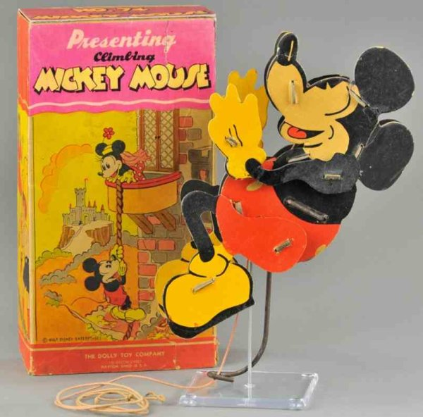 The Dolly Folding Kite and Toy Company Paper-Figures Climbing Mickey Mouse toy, made of cardboard an