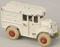 Hubley Cast-Iron trucks Bordens milk cream truck in white...
