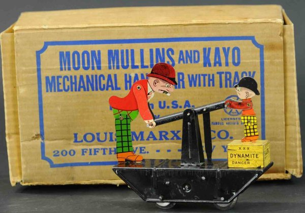 Marx Railway-Draisine Tin wind-up Moon Mullins handcar prototype. One-of-a-kind pr