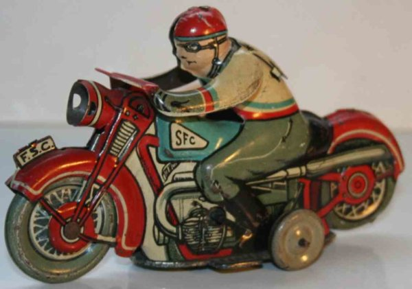 SFC Siro Ferrari Casalpusterlengo Tin-Motorcycles Motorcycle with driver from Italy with wind-up mec