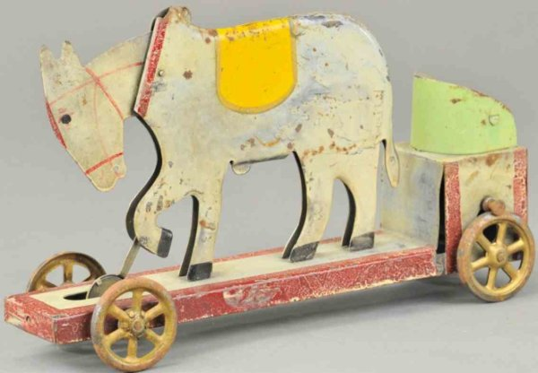 Dayton Friction Tin-Toys Mule cart made of pressed steel, painted in white and mounte