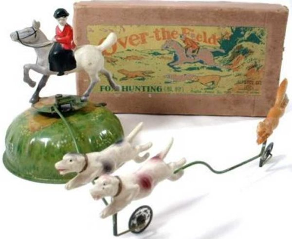 Alps Tin-Figures Over-the Field FOX HUNTING tin and celluloid wind up toy. M