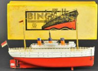Bing Tin-Ships Ocean liner with box,  red and white hull,...