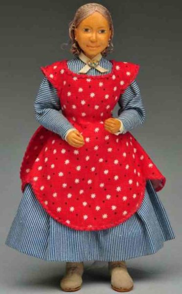 Bringloe Frances Dolls Carved wood pioneer girl, all wood artist doll, lovely hard-
