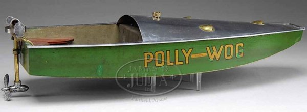 Boucher H.E. MFG. Co. Tin-Ships POLLY-WOG, speed boat, it has a live steam/hot air outboard
