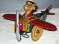 Marx Tin-Figures Aeroplane eccentric airplane tin...