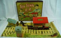 Parker Brothers Tin-Penny Toy Rail road set of tin with...