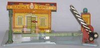 Marx Tin-Toys Electric lighted railroad station with...