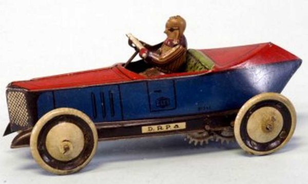 Greppert & Kelch Tin-Race-Cars Racer lithographed tin, colorful open racer in red and blue,