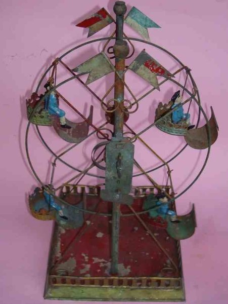 Plank Ernst Tin-Carousels Ferris wheel, Russian swing with clockwork and four gondolas