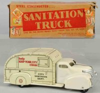 Marx Tin-Trucks Pressed steel sanitation dept. Truck toy,...