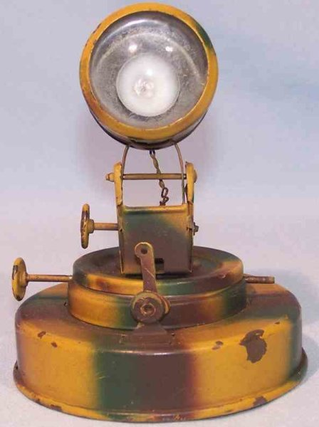 Hausser (Elastolin) Military-toys Headlight made of tin and glass, hand painted in mimicry, wi