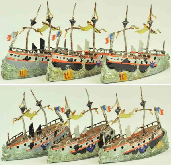 Heyde Tin-Penny Toy Three ships at see, hand painted examples, very well detaile