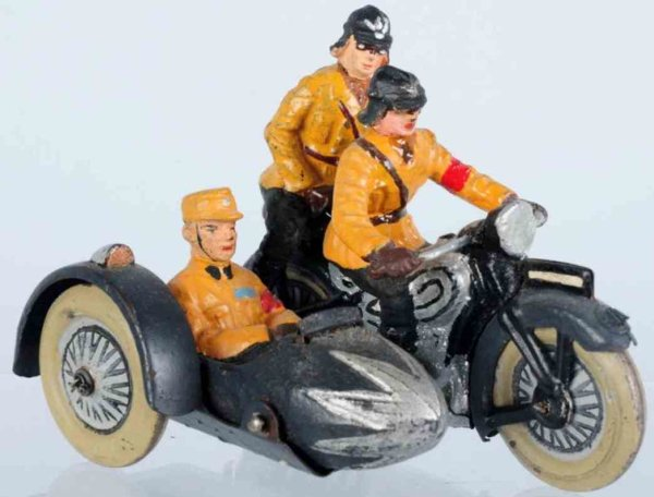 Lineol Military-Motorcycles SA motorcycle with sidecar and three matching figures, missi