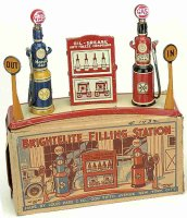 Marx Tin-Toys Brightlite filling station with electric,...