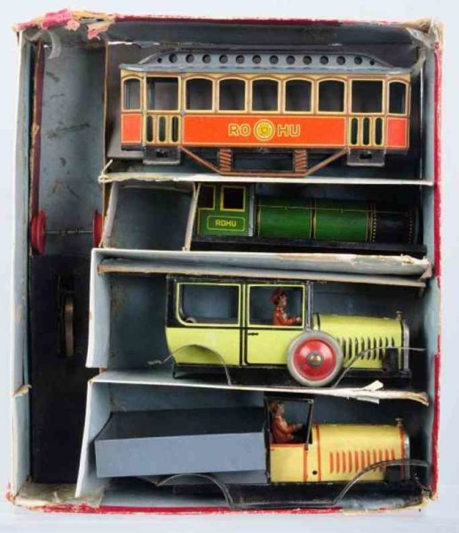 Rohu Tin-Other-Vehicles Tin lithographed wind-up vehicle set, made by Rohu, set incl