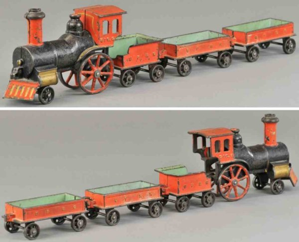 Stevens Co J. & E. Railway-Floor Train Floor train set, early cast iron example, includes 2-2-0 bla