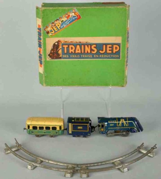 JEP Railway-Trains Tin lithographed wind-up passenger train set, engine marked