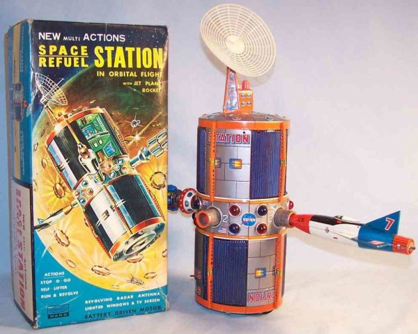 WACO Tin-Toys Space refuel station made of tin and plastic with original b