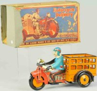 Marx Tin-Motorcycles Speed boy delivery motorcycle,...