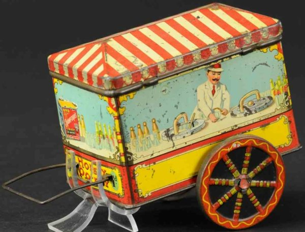 Crawford William & Sons Tin-Toys Street vendor candy, lithographed tinplate, depicting an ice