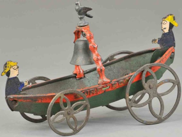 Ives Cast-Iron-Ships Surf boat bell toy, rare cast iron bell toy able to roll alo