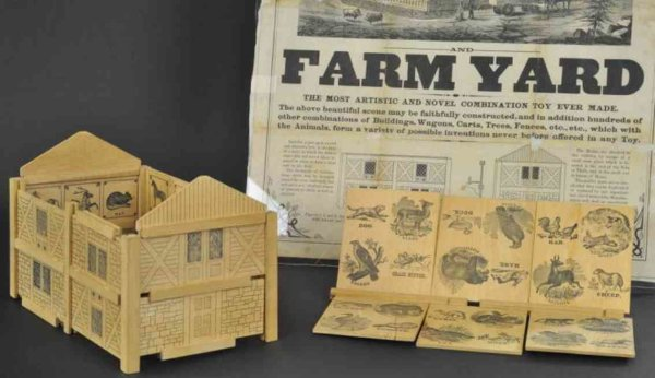 Bradley Milton Wood-Buildings Swiss cottage farm yard and broadside, boxed example,  Paten