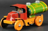 Marx Tin-Trucks Tank car made of lithographed tin, red...