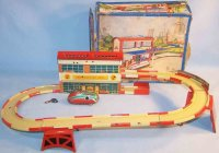 Hoefler J H Tin-Toys Service station railway lithographed...