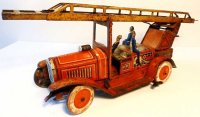 Tippco Tin-Fire-Truck Fire department car with clockwork,...