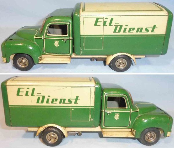 Tippco Tin-Trucks Bussing truck with inscription Eil-Dienst and flywheel dri