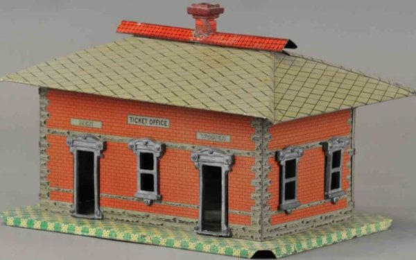 American Miniature Railroad Railway-Stations Railroad station lithographed tin ticket office, featur