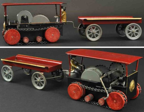 Wilkins Tin-Tugs/Rollers Tractor and trailer made of pressed steel open frame tractor