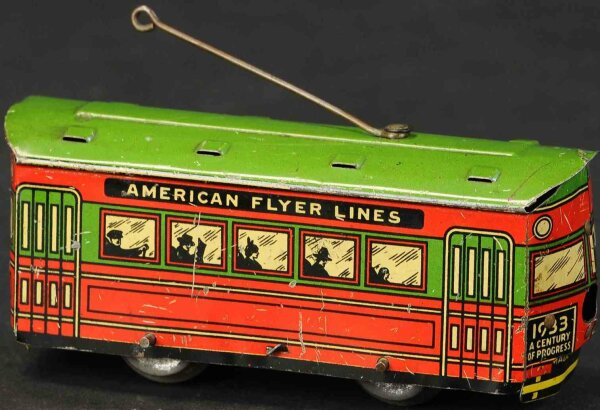 American Flyer Tin-Trams Century of Progress trolley car, very scarce example, lithog