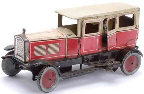 Richard und Co. Tin-Oldtimer Limousine with clockwork in cerise, with cream roof and uppe
