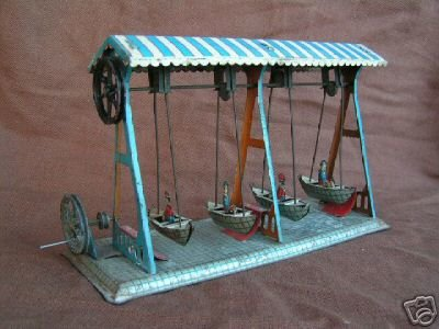 Krauss Wilhelm Steam Toys-Drive Models Ship swing of with 4 ships, stamped in the bottom plate: Mad