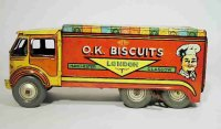Mettoy Tin-Trucks O.K. Biscuits delivery van,...