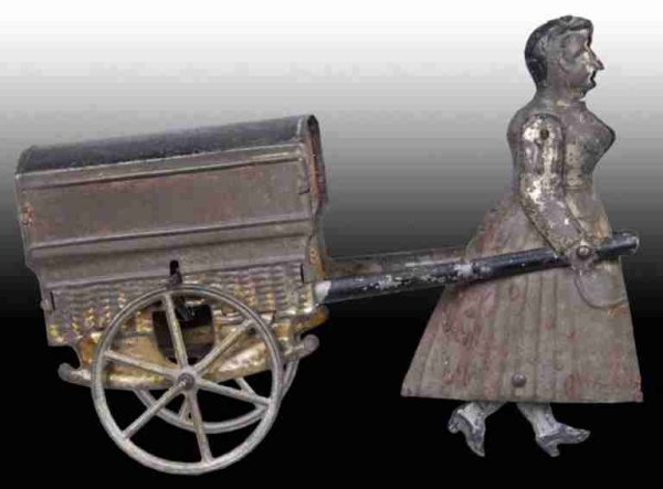 RF Tin-Figures Early French Flywheel Woman Pulling Cart Toy Figure and base