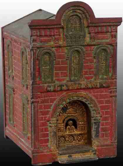 Judd H.L. Tin-Mechanical Banks Cast Iron City Bank with Teller