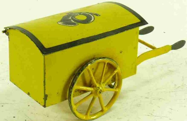 Kraus-Fandor Railway-Platform Accessories Mail cart #2500, made of sheet metal, hand-painted in yell