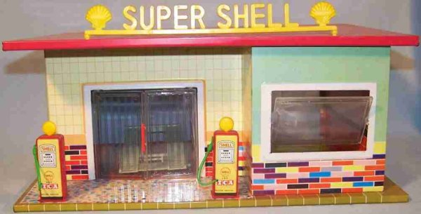 Tippco Tin-Buildings SHELL service station made of sheet metal and plastic, litho