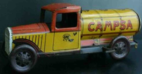 Rico Tin-Trucks wind up and lithographed tinplate Gasoline tank truck with t