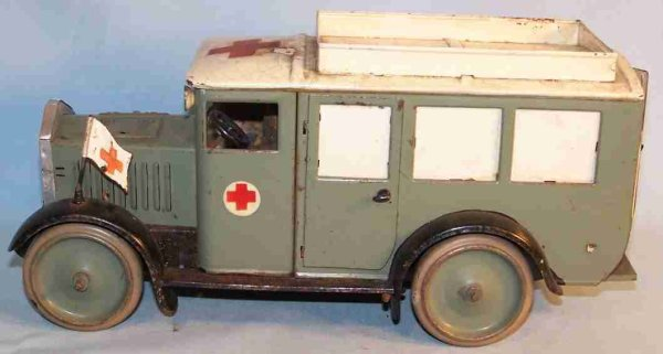Hauser Military-Vehicles Ambulance car with clockwork with field-gray varnishing, dri