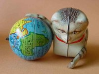 Koehler Tin-Animals Cat with globe als ball and clockwork...