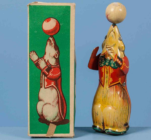 Hoefler J H Tin-Animals Circus Bear with ball, lithographed in red and yellow marked