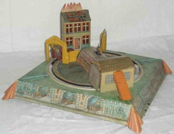 Eberl Hans Tin-Toys Fire department game with clockwork, wound up the fire car g