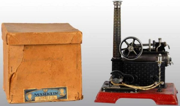 Maerklin Steam Engines-stationary-Lokomobile Overtype lokomobile with dynamo and street lamp. The en