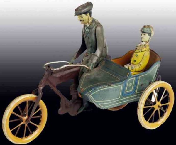 Krauss Wilhelm Tin-Motorcycles Motorcycle with side-car and clockwork, man with woman